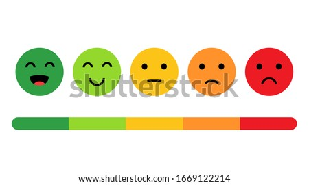 Rank, level of satisfaction rating. Face icons, Feedback in form of emotions. User experience. Review of consumer. Scale with colored segments. Vector Isolated illustration