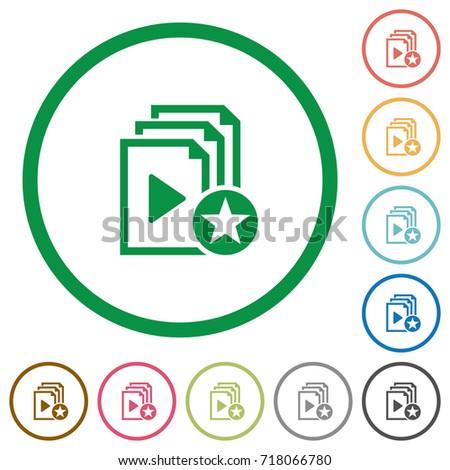 rank playlist flat color icons