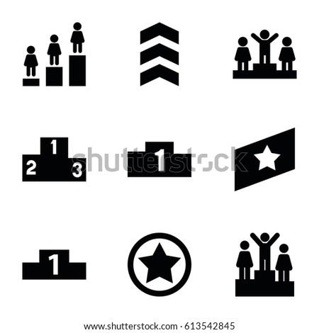 Ranking icons set. set of 9 ranking filled icons such as ranking