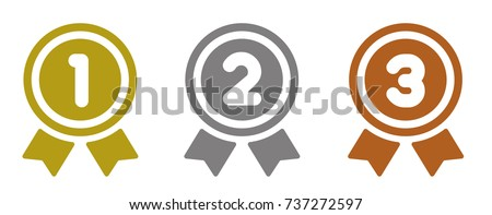 ranking medal icon illustration set. from 1st place to 3rd place (gold/silver/bronze).