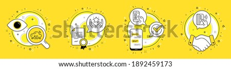Ranking, Mobile survey and 5g cloud line icons set. Licence, cell phone and deal vector icons. Contactless payment sign. Hold star, Phone quiz test, Wifi internet. Bank money. Technology set. Vector