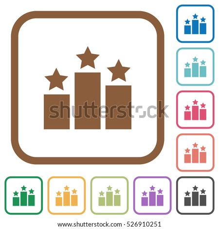 Ranking simple icons in color rounded square frames on white background