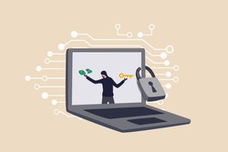 Ransomware computer crime, hacker attack company network ask for money to unlock data via internet concept, hacker in computer laptop monitor ask for ransom money to unlock the computer.