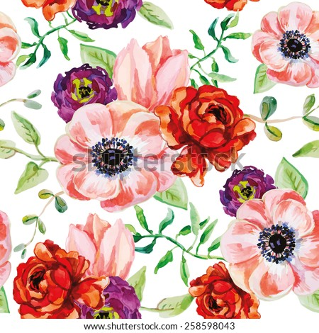 ranunculus flowers and green