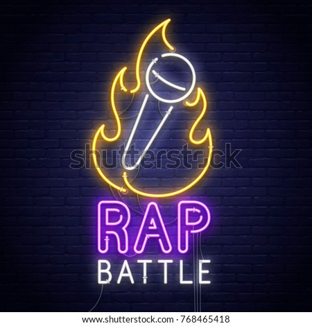 Rap Battle. 3d neon sign. Realistic neon sign. Battle banner, logo, emblem and label. Bright signboard, light banner.