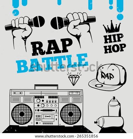Rap battle, hip-hop, breakdance music design elements. Vector set