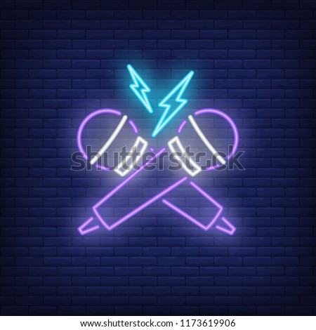 Rap battle neon icon. Crossed microphones and lightning on brick wall background. Show concept. Vector illustration can be used for neon signs, advertising, concert promotion