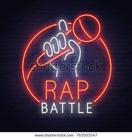 Rap Battle neon sign. Neon sign. Stand Up logo, emblem and label. Bright signboard, light banner.