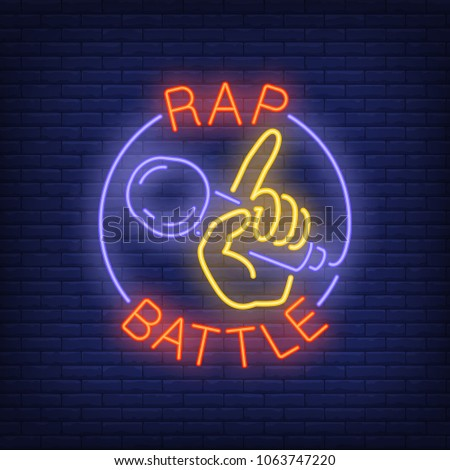 Rap battle neon text and hand holding microphone. Neon sign, night bright advertisement, colorful signboard, light banner. Vector illustration in neon style.