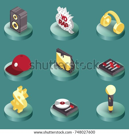 rap color isometric icons