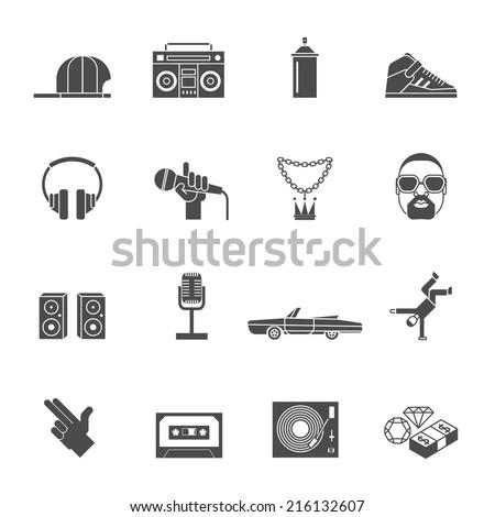Rap hip hop music black icons set isolated vector illustration