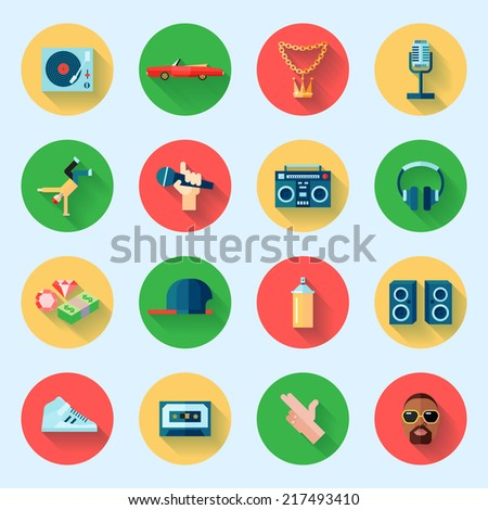 Rap hiphop singing breakdance music icons set isolated vector illustration