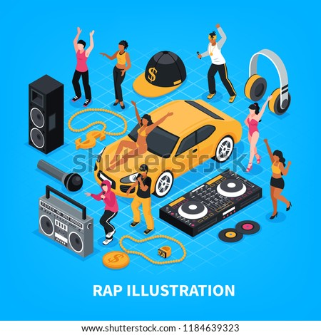 Rap isometric vector illustration with singers performers sound amplifier headphones radio tape recorder decorative signs
