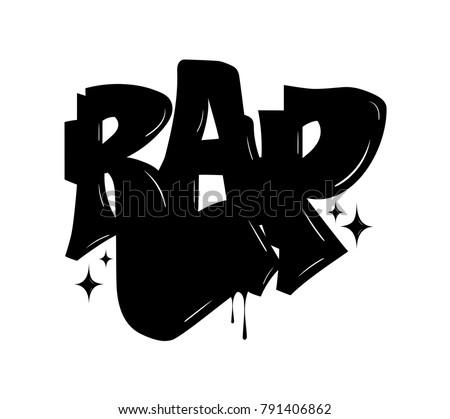 Rap label logo in graffiti style, vector.