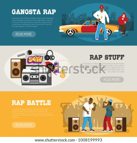 Rap music 3 flat horizontal banners webpage design with freestyle singers battle and retro accessories vector illustration
