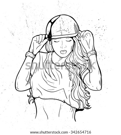 Rap music girl. Pretty Young Urban Rap Girl. Lady Vector artwork. Doodle art isolated on white background. Face emotion illustration.