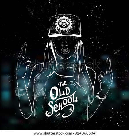 Rap music girl. Pretty Young Urban Rap Girl. Lady Vector artwork, text can be removed. Doodle art isolated on white background. Face emotion illustration.