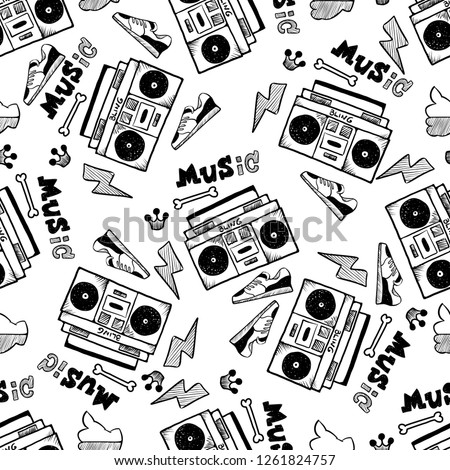 Rap Music. Hip hop doodle pattern with rap attributes