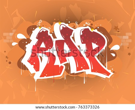 rap music party illustration in graffiti style, lettering logo, vector.Typography for poster,t-shirt or stickers