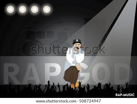 Rap music. Scene. Spotlight. The guy rapping. Vector illustration.