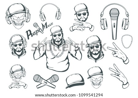 Rap music set. Rapper skull on white background. Lettering with a microphone. Vector graphics to design.
