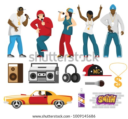 Rap music singers with accessories mc cap retro car loudspeakers microphone flat icons collection isolated vector illustration