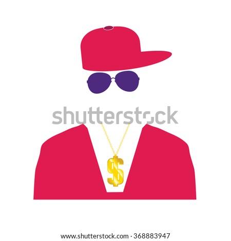 rap singer illustration in pink