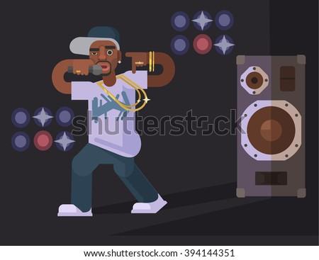 Rap singer. Vector flat illustration