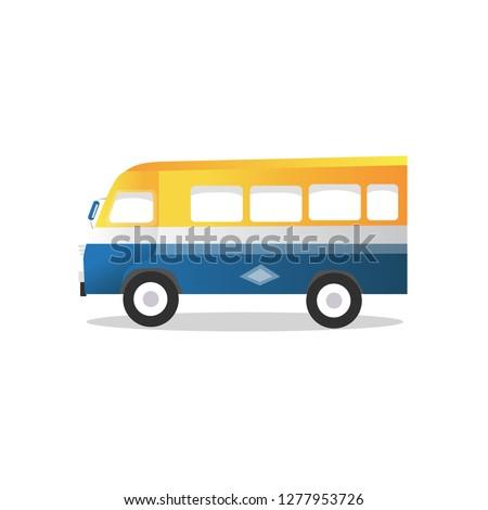 Rapid car -Local mini transport bus in Senegal, car rapid in Dakar (Profil) Vector