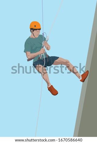 Rappelling Adventure Sport on illustration graphic vector Photo stock ©