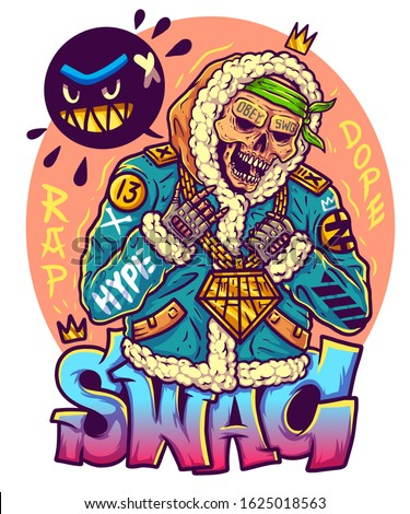 Rapper in fur coat with gold chain on neck. Skeleton with crown on head. Gangster in an alpaca coat. Swag guy in sheepskin coat. Images for printing on clothes. Print for merch. Vector Tshirt design