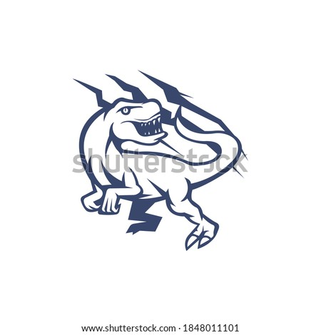 raptor mascot logo outline version. raptors logo in sport style, mascot logo illustration design vector  Photo stock ©