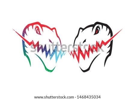 Raptor, t-rex head rainbow color Illustration with red eye zig zag mouth/tooth