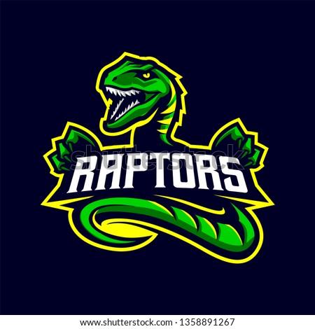 Raptors Mascot Logo for Sport and Esport isolated on dark Background Stockfoto ©