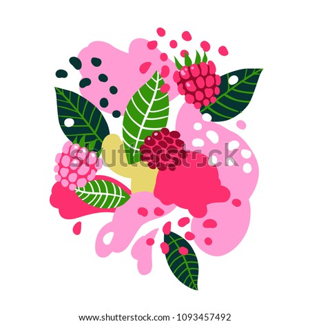 Raspberries on abstract background. Vector illustration