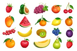 Raspberries, strawberries, grapes, currants and blueberries. Lemon, peach, apple, pear, orange watermelon avocado and melon set Vector illustration berries and fruits in cartoon style.