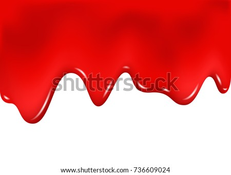 Raspberry, cherry   or strawberry dripping sweet jam on white background. Red paint drips. Flowing nail polish. Blood splashes.  Realistic 3d vector liquid texture.