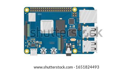 Raspberry Pi 4 Model B, electronics board top view illustration  Zdjęcia stock ©