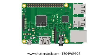 raspberry pi top view illustration electronics diy board Zdjęcia stock ©