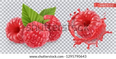 Raspberry. Sweet fruit. 3d realistic vector icon Stock photo ©