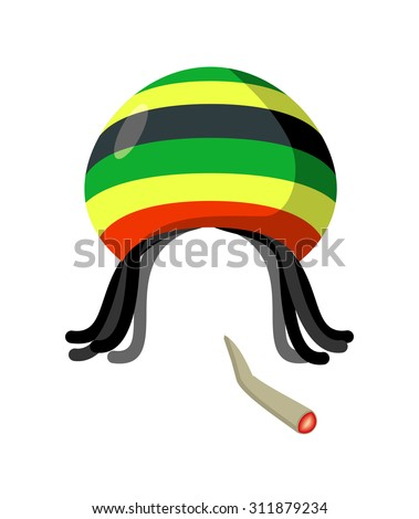 rasta cap with dreadlocks on