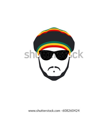 rasta cap with moustache and