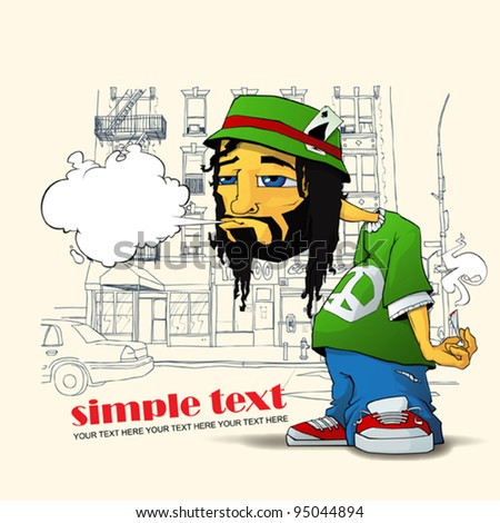 Rasta character on a street-background. Vector illustration. Place for your text. EPS10