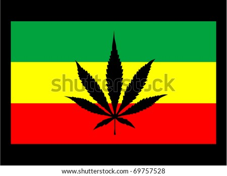 rasta flag with marijuana leaf