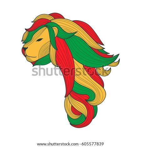 rasta lion in shape of africa