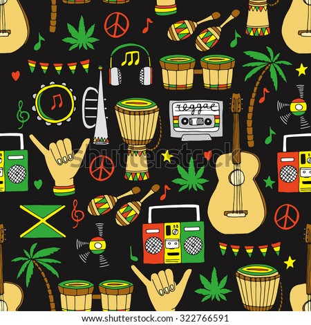 rasta seamless pattern vector