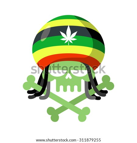 rasta skull with dreadlocks and