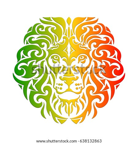 Shutterstock Rasta theme with lion head on a white background. Vector illustration. Wallpaper in Rastafarian background colors.