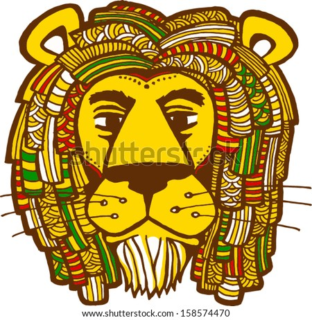 Rastafarian lion vector illustration