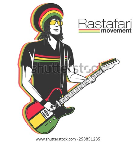 rastaman in dreadlocks playing